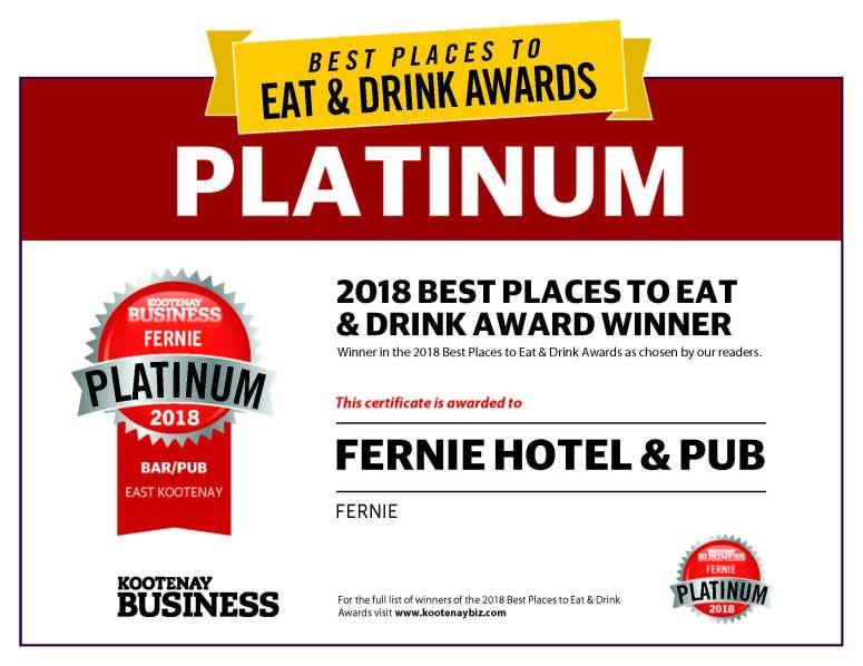 2018 award Platinum